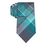 J.Ferrar Heather Open Plaid Tie With Tie Bar