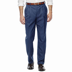 Stafford Travel Wool Blend Stretch Pleated Suit Pants-Classic Fit