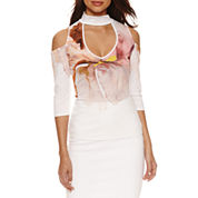 Bisou Bisou Mock Neck Cold Shoulder Top