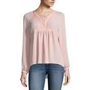 a.n.a. LACE UP BLOUSE