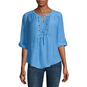 Liz Claiborne 3/4 Sleeve Y Neck Woven Blouse