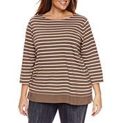 St. John`s Bay 3/4 Sleeve Boat Neck T-Shirt-Plus