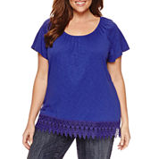 St. John`s Bay Short Sleeve Scoop Neck T-Shirt-Plus