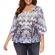 Unity World Wear 3/4 Sleeve Scoop Neck Knit Blouse-Plus