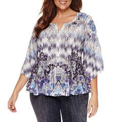 Unity World Wear 3/4 Sleeve Scoop Neck Knit Blouse-Plus