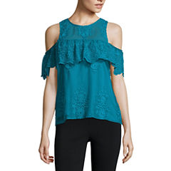 Trixxi Short Sleeve Round Neck Blouse-Juniors