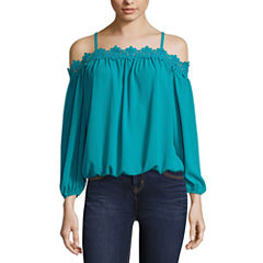 nicole by Nicole Miller Lace Trim Cold Shoulder Top