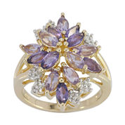 Genuine Amethyst, Pink Quartz & Lab-Created White Sapphire Flower Ring in 14K Gold over Silver
