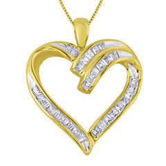 1/3 CT. T.W. Diamond 10K Yellow Gold Heart Pendant Necklace