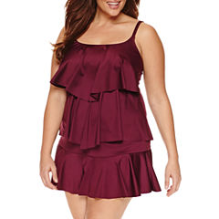 Liz Claiborne Amethyst Tiered Tankini or Skirted Hipster - Plus