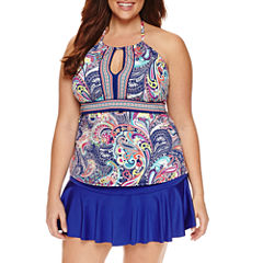 Liz Claiborne Paisley Tankini Swimsuit Top-Plus