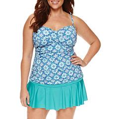 Liz Claiborne Pattern Tankini Swimsuit Top-Plus