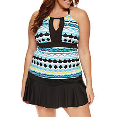 Liz Claiborne Beach Side Geo  Key Hole Tankini or Skirted Hipster