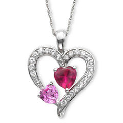 Lab-Created Ruby, Pink & White Sapphire Heart Pendant Necklace