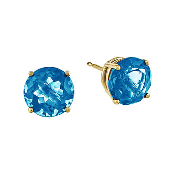 Genuine Swiss Blue Topaz 14k Yellow Gold Round Earrings