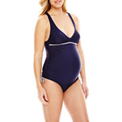 Spencer® Shirred-Side One-Piece Halter Swimsuit - Maternity