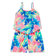 Total Girl® Sleeveless Palm-Tree Print Romper - Girls 7-16 and Plus