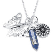 Silver Reflections™ Lapis Silver-Plated Butterfly & Flower Charm Pendant Necklace
