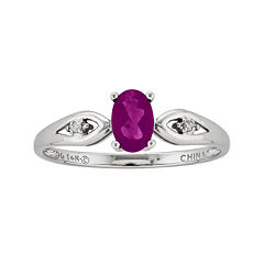 Genuine Ruby and Diamond-Accent 14K White Gold Ring