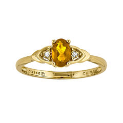 Genuine Yellow Citrine Diamond-Accent 14K Yellow Gold Ring