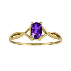 Genuine Purple Amethyst 14K Yellow Gold Ring