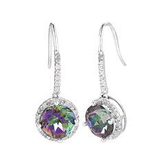 1/10 CT. T.W. Diamond & Genuine Mystic Topaz Sterling Silver Drop Earrings