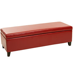 Shiloh Bonded Leather Storage Bench