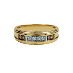 Mens 1/4 CT. T.W. White Diamond 10K Gold Band