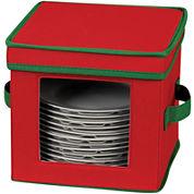 Household Essentials® Red Holiday Dessert Plate/Bowl Storage Chest