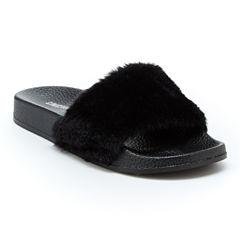 Union Bay Fuzzy Womens Slide Sandals