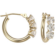 Cubic Zirconia 3-Stone Hoop Earrings 14K Gold