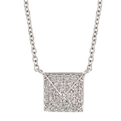 DiamonArt® .96 CT. T.W. Cubic Zirconia Sterling Silver Pyramid Cluster Necklace