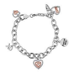 ForeverMine® 1/10 CT. T.W. Diamond 14K Rose Gold Accent Charm Bracelet