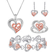 ForeverMine® Silver Over Brass With 14K Rose Gold 4 pc. Jewelry Box Set