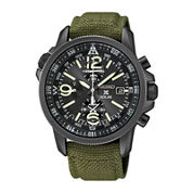 Seiko® Prospex Mens Green Nylon Strap Chronograph Solar Watch SSC295