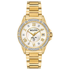 Bulova Womens Gold Tone Bracelet Watch-98r235