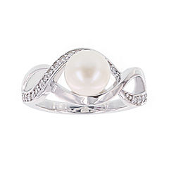 Diamonart® Cultured Freshwater Pearl and Cubic Zirconia Sterling Silver Swirl Ring