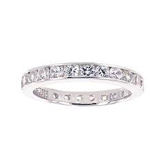 Diamonart® Cubic Zirconia Sterling Silver Eternity Band Ring