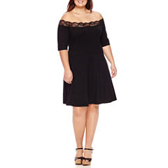 Decree Off Shoulder Lace Trim Dress - Juniors Plus