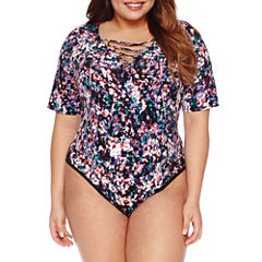 Boutique + Lace Up Short Sleeve Bodysuit-Plus