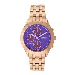 Geneva Womens Multifunction-Look Rose-Tone Bracelet Watch