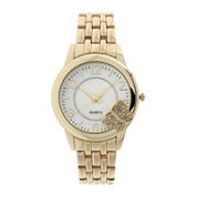 Womens Crystal-Accent Butterfly-Trim Gold-Tone Bracelet Watch