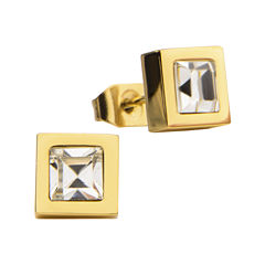 Stainless Steel And Yellow IP Princess Crystal Stud Earrings