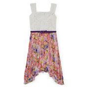 Disorderly Kids® Sleeveless Belted Floral Sharkbite Dress - Girls 7-16