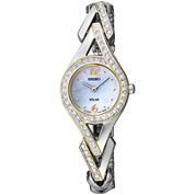 Seiko® Womens Two-Tone Crystal Accent Mother-of-Pearl Solar Watch SUP174