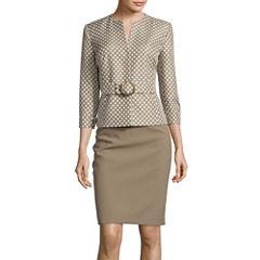 Isabella Long-Sleeve Polka Dot Jacket and Skirt Suit Set