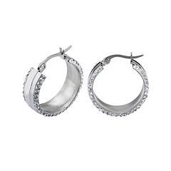 Crystal Stainless Steel 24mm Hoop Earrings