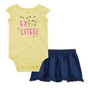 Okie Dokie® Cap-Sleeve Bodysuit or Denim Skort - Baby Girls newborn-24m