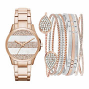 Womens Rose-Tone Watch Box Gift Set