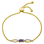 Sparkle Allure Womens Purple Diamond Accent Gold Over Brass Bolo Bracelet